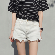2018 new white denim shorts female summer chic hundred Take high Students wide leg was thin loose a word shorts
