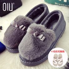 2017 new autumn and winter shoes female students with warm cashmere Korean shoes Maomao shoes all-match Doug flat shoes