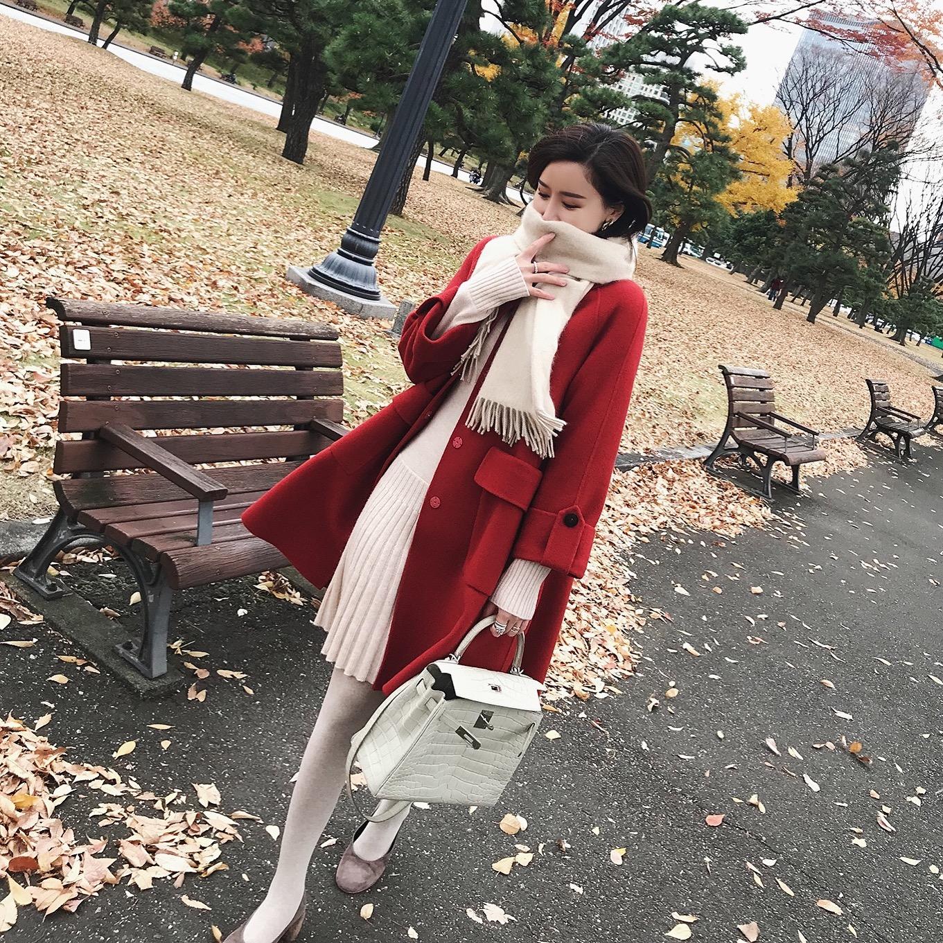 ZOWZOW呛口小辣椒chic呢子外套女冬中长款加厚双面羊毛大衣Z17565
