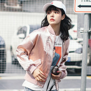 Real shot spot loose casual baseball uniform jacket thin section jacket schoolgirl flashing love
