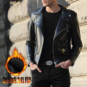 The winter men's leather jacket handsome young Korean short and slim velvet jacket lapel thickening locomotive tide