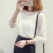 Special offer every day new dress lace shirt female autumn Korean all-match Lantern Sleeve Jacket hollow bottoming shirt