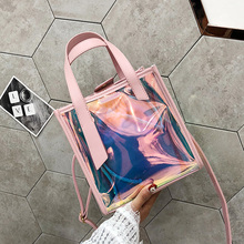 Korean version of the ins super fire laser transparent jelly bag 2018 summer new simple wild portable Messenger bag