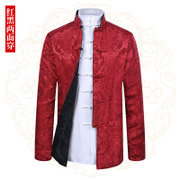 Autumn Tang suit men's long sleeve wear national dress show he served on both sides of the elderly middle-aged dad thin coat