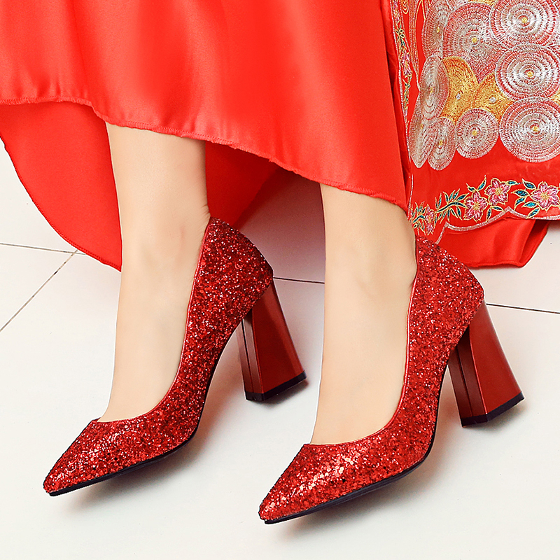 2017, spring and autumn new silver bride shoes, thick with pregnant women, single shoes, sequins, red wedding shoes, sexy high-heeled shoes