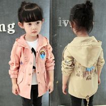 Girls windbreaker jacket 3 long 5 children and 6 women in the spring and autumn with new 4 baby 7 thin 8 pure cotton casual Korean version