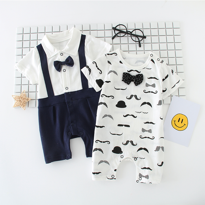 Baby clothing summer female cotton Romper 3 short sleeved summer climbing clothing 6-9-12 months baby boy thin summer