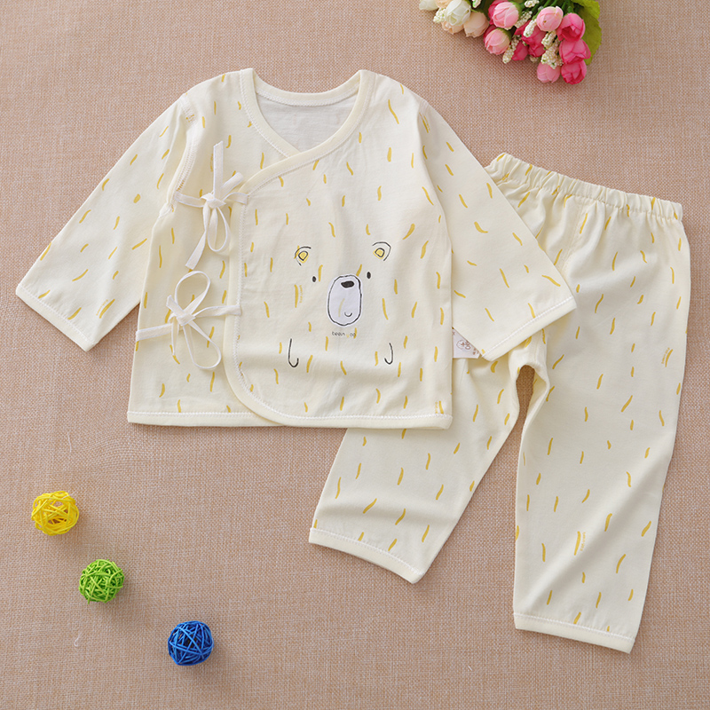 Newborn summer clothing, spring and autumn babies, 0-3 months of male and female children, cotton thin cloth, monk suit