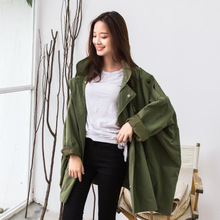 Caramel girls long windbreaker winter 2017 Korean port wind tooling loose small waist coat female tide