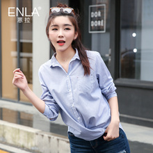 Female shirts pull 2016 autumn shirt female anthracene Pinstripe shirt hem design Korean female EN388