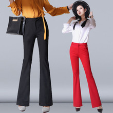 In the autumn of 2017 new high waist pants stretch slim flared trouser drape thin long pants female leisure trousers