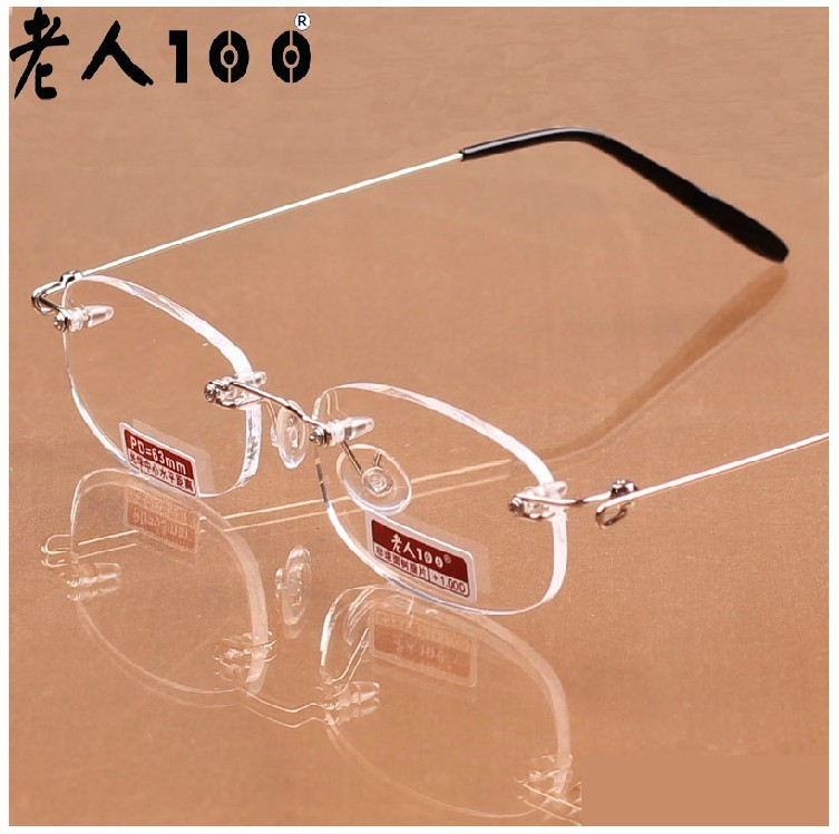 High resolution anti fatigue ultra portable frameless glasses of 100/150/200/300/400 resin