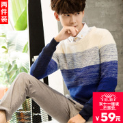 2 Men T-shirt and cashmere sweater Winter Youth sweater Korean students thickened Turtleneck Shirt