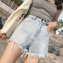 2018 new Korean chic wide leg denim shorts women high waist loose thin student hot black pants Pants