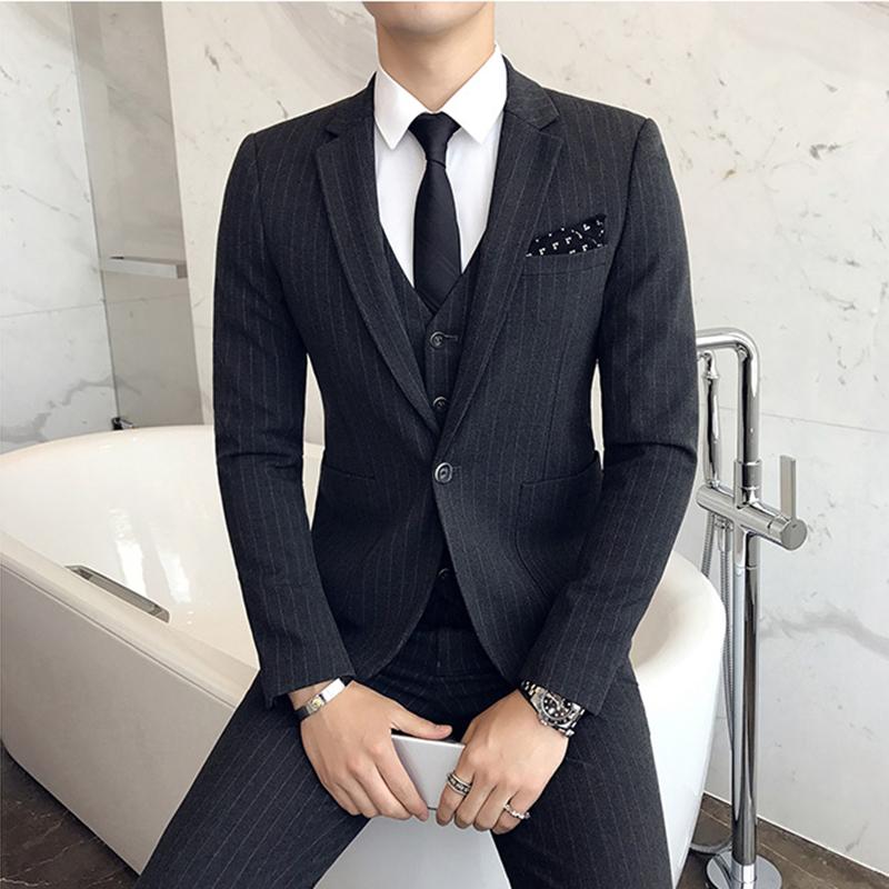西服套装男三件套四季商务休闲正装西装韩版修身伴郎新郎结婚礼服