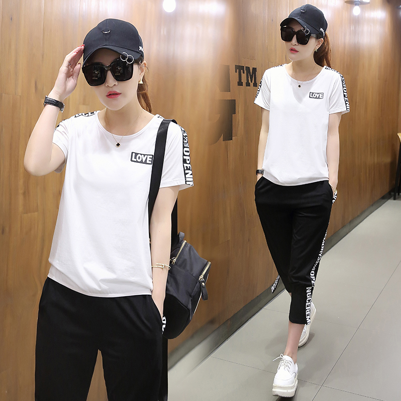 Casual sportswear suit female 2017 summer new personality loose pants seven simple short sleeved summer two piece