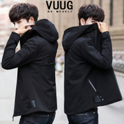 The new trend of Korean men's coats in autumn 2017 spring and autumn winter men's casual handsome slim Hooded Jacket