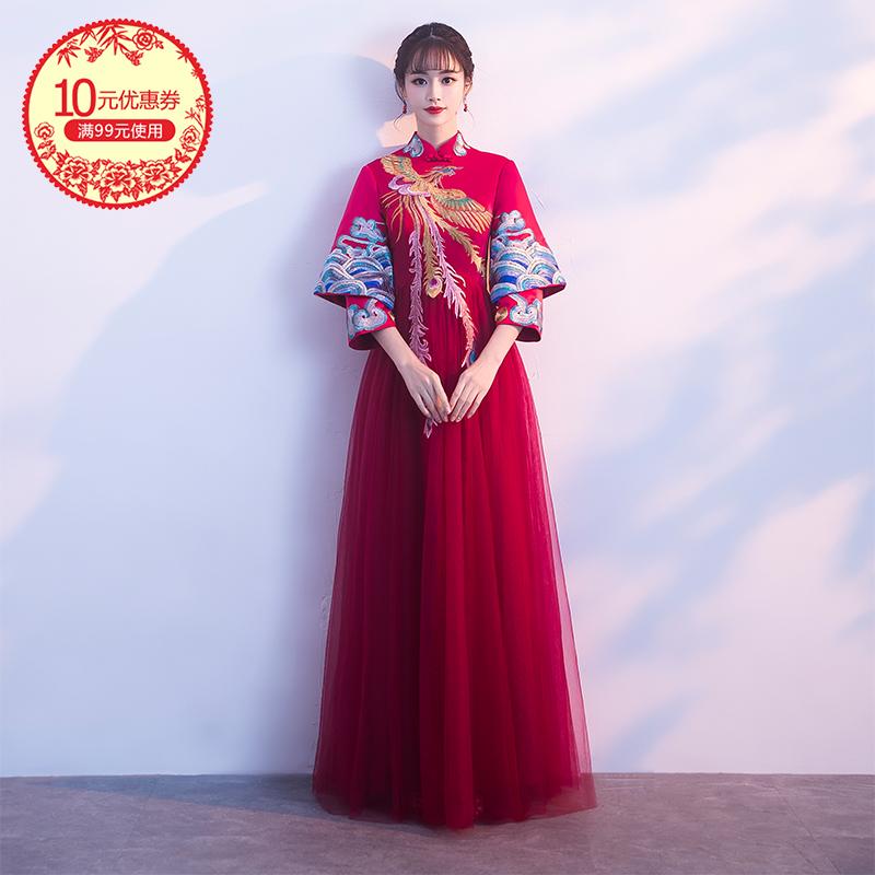 秀禾服新娘2017新款孕妇大码中式结婚礼服红色旗袍女长袖敬酒冬季