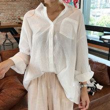 The Korean version of the fall of 2017 new long sleeved cardigan shirt Lapel loose Ladies Cotton E098 dress shirt students