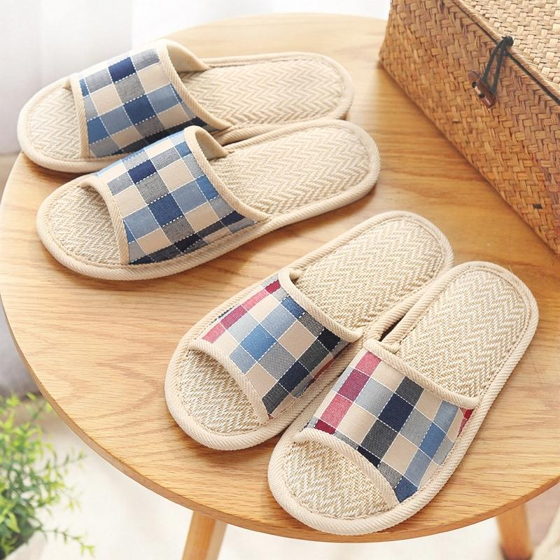 Linen Plaid slippers, new home skid proof shoes, indoor home cool slippers, female summer quality