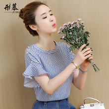 Chiffon sweater, womens wear, summer wear, short sleeves, shoulders, clothes, women, 2018, new style, summer, temperament, and short shirts.