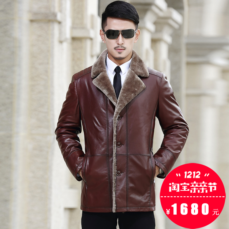 2016, the new goat skin, wool, fur one man, long leather clothing, men's suits, collar, self-cultivation coat