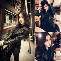 Purchasing leather clothing female short leather punk jacket Sheepskin 2017 Joker slim jacket Korean version of self in the spring tide