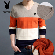 Dandy wool male Korean cultivating man V neck knit shirt young thin sleeve head men