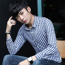 The man with super slim Mens Long Sleeve Shirt Mens Plaid Shirt Men's youth home men's clothes tide.