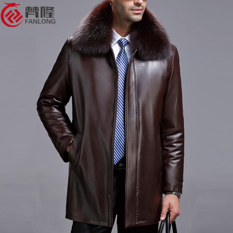 冬装男士真皮皮衣绵羊皮狐狸毛领男中老年中长款皮草外套爸爸装