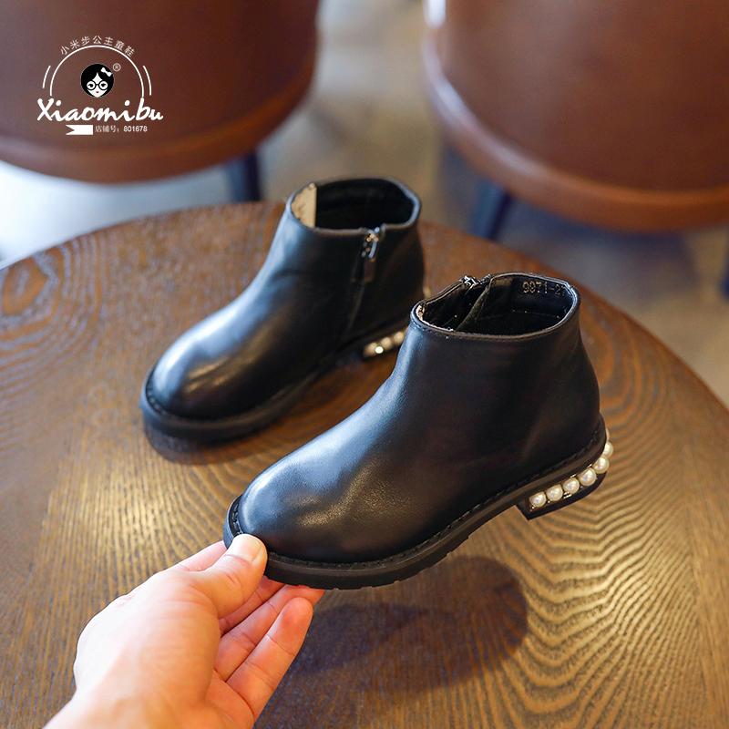 2017新款女童靴子秋冬短靴 儿童百搭真皮马丁靴 韩版公主加绒皮靴