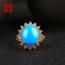 Natural Sleeping Beauty Turquoise Blue Ring female 18k rose gold inlaid high porcelain blue turquoise ring high ore
