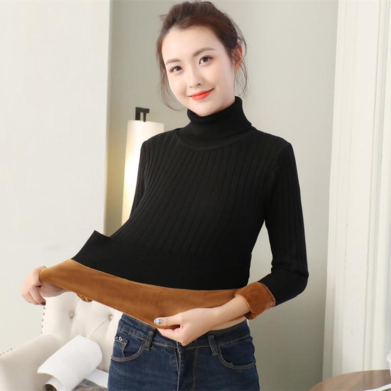 毛衣女加绒加厚秋冬季高领保暖修身显瘦针织衫韩版百搭长袖打底衫