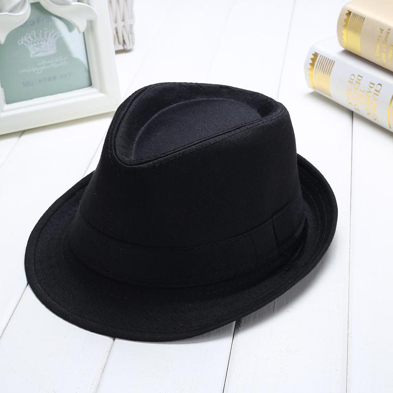 男女夏季遮阳爵士帽明星同款舞蹈短帽檐黑色儿童英伦帽礼帽表演帽