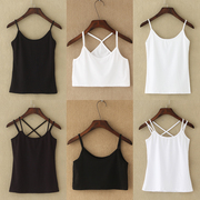 Small vest female sexy summer cotton short primer wear take simple all-match black white blouse