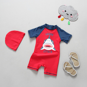 South Korean foreign trade new boy baby baby shark swimsuit anti UV sunscreen dry warm surf clothing Han Banchao