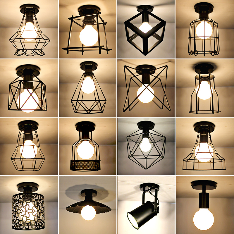 American style rural ceiling lamp, northern European style corridor, aisle entrance, balcony, fitting room, study room, wrought iron lamps and lanterns
