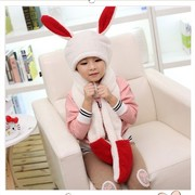 Lovely children warm winter hat scarf glove three piece one thickened rabbit ears at the age of 1-9