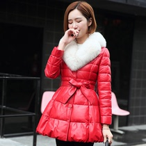 New 2016 winter leather women long down jacket fur collar fox fur Korean slim sheep leather coat