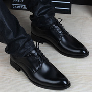 Winter Youth dress shoes with velvet suit male black lace up the Korean business men's casual shoes.