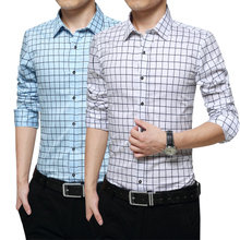 Adult men's shirt plaid shirt collocation T-shirt middle-aged man Mens formal waist small white