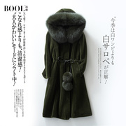 Baou in the long section of fox fur wool coat winter 2017 new hooded fashion cashmere coat female