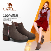 The camel shoes 2017 winter new suede boots with thick frosted leather female British short canister boots