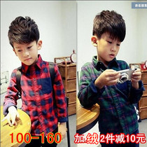 (Daily specials) 17 autumn winter and the new boys children plus wool shirt Plaid Shirt in Han Chao