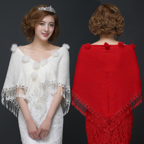 Brides spring and autumn and winter Red XL white shawl wedding dress cheongsam thin hair wearing fringed ladies cotton scarf
