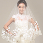 Korean clothing yarn lace veil lady bride wedding dress Vintage 3 m soft veil