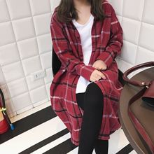 2017 new POLO collar all-match Plaid Shirt Korean female college wind students loose long cardigan coat