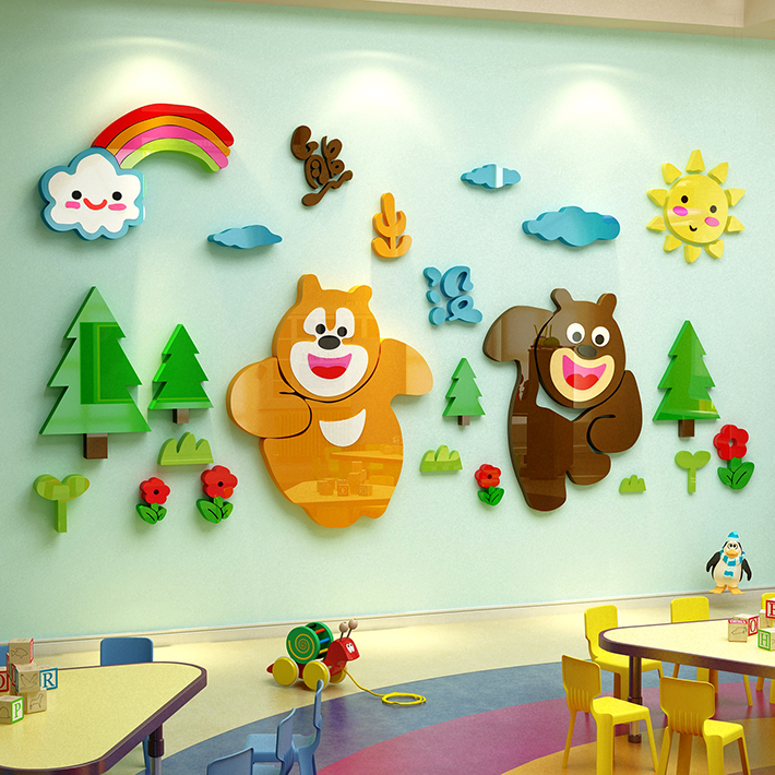 熊出没卡通墙贴3d立体儿童房装饰卧室亚克力小动物幼儿园墙面贴画