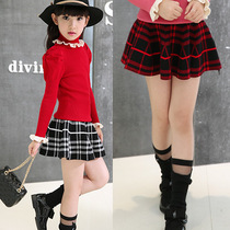 Girls skirt skirt in autumn in autumn and winter equipment children Princess Plaid knitted wool sheds little girl skirts
