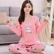 Spring Autumn Pajamas Female autumn pure cotton long sleeve Korean version of fresh students thickening cute summer home suit set autumn and winter